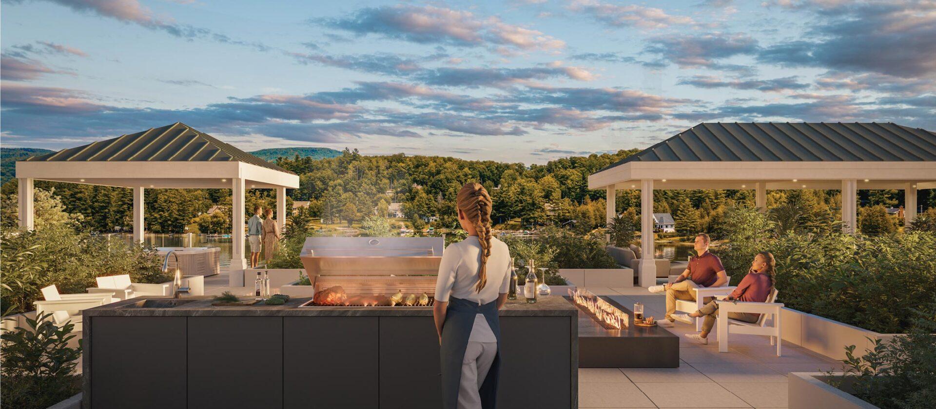 Manger et s'amuser sur la terrasse